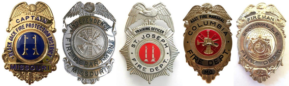 Fire officer badges.