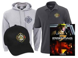MU Fire and Rescue Training Institute hat, hoodie, polo shirt and training manual.