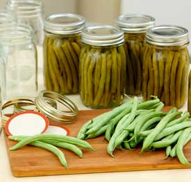 green beans being canned