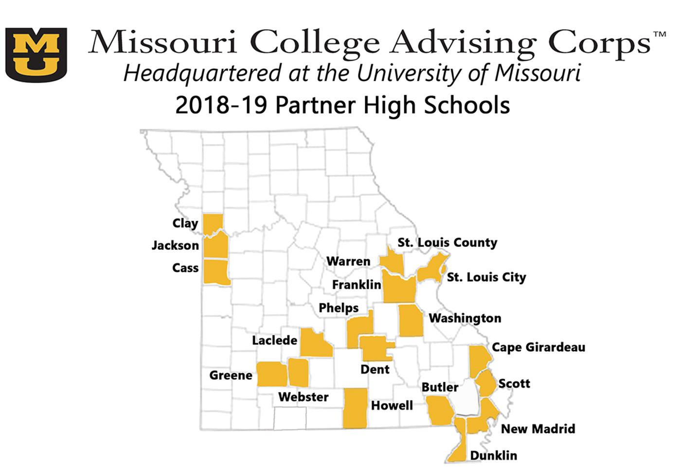 2018-19 MCAC Partner High Schools map