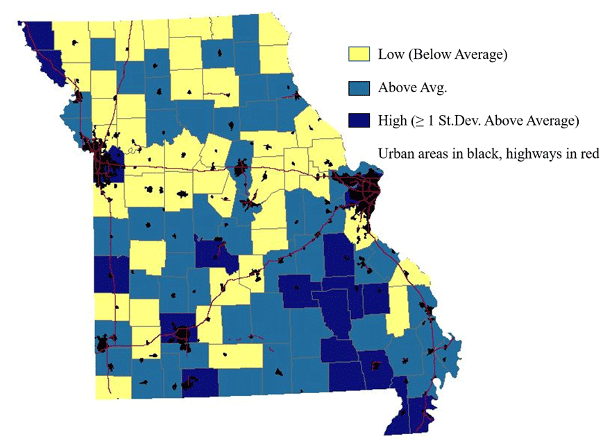 Missouri map showing employment establishment churn rates by county. Higher in the southeast part of the state.