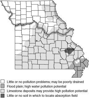 Areas where potential groundwater pollution may restrict location of absorption field
