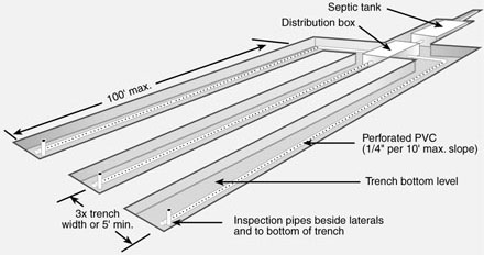 View of a typical absorption trench field