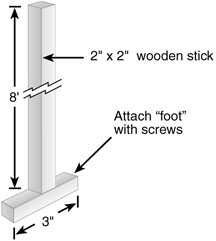 Wooden stick for measuring scum and sludge depth in a septic tank