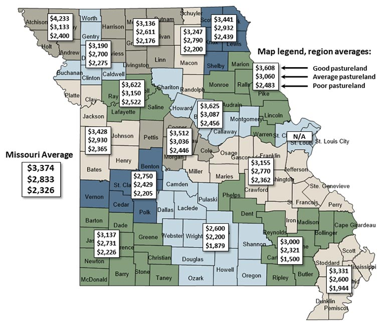 Map of Missouri showing regional estimated pastureland values for July 2020.