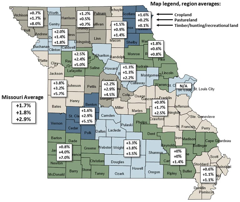Map of Missouri showing regional forecasted percent change in farmland values between July 2020 and July 2021.