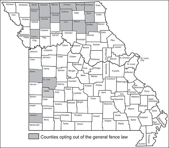 Many northern Missouri counties have opted out of the general fence law