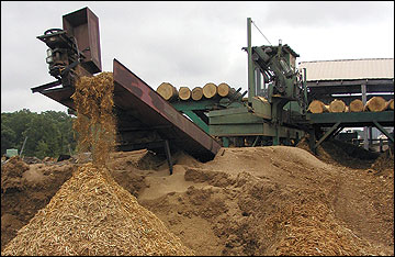 Bark and other sawmill residues have ready use as landscape mulch and as an energy source