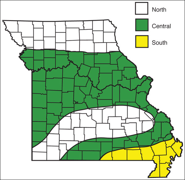 Hardiness zones in Missouri