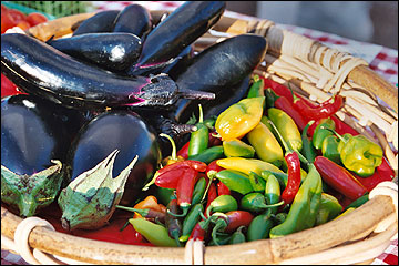 Eggplants and peppers, Martha Dragich photo