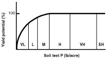 Relationship between soil test and phosphorus yield.