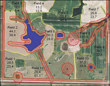 Map of a farm generated by the software program Spatial Nutrient Management Planner