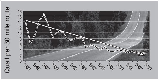 Missouri statewide population trends for bobwhite quail from 1983 to 2009 show a long-term decline in numbers of quail