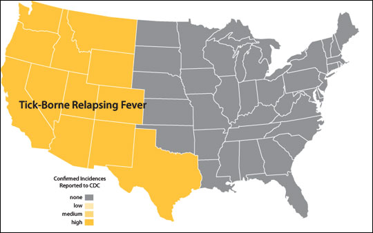 Distribution map of tick-borne relapsing fever