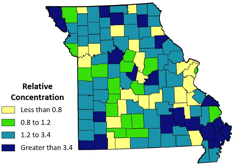 Missouri map of relative concentration of wage and salary jobs in food, agriculture and forestry. Scale from less than 0.8 to greater than 3.4. Higher concentrations in southeast Missouri and scattered across the state.