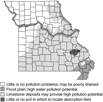 Areas where potential groundwater pollution may restrict location of a sewage lagoon